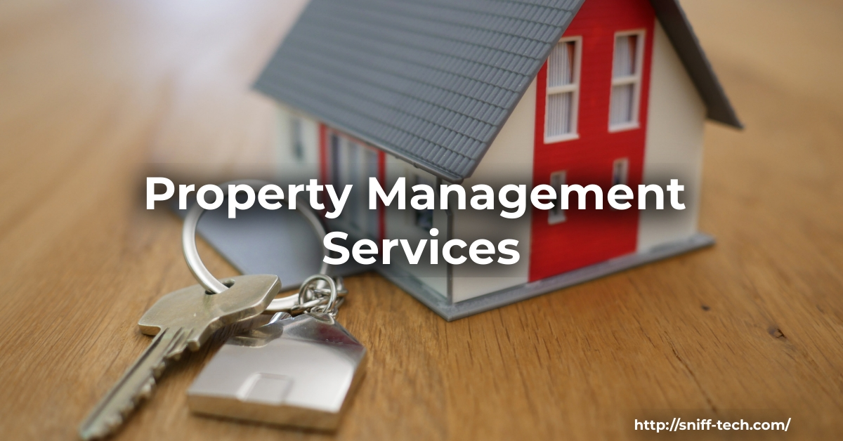 Image shows a property management service icon. There is a miniature house next to a set of house keys.