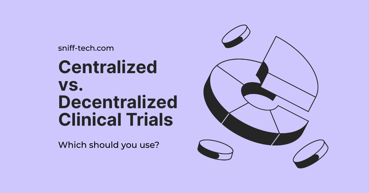 centralized vs decentralized clinical trials is displayed against a pink background.